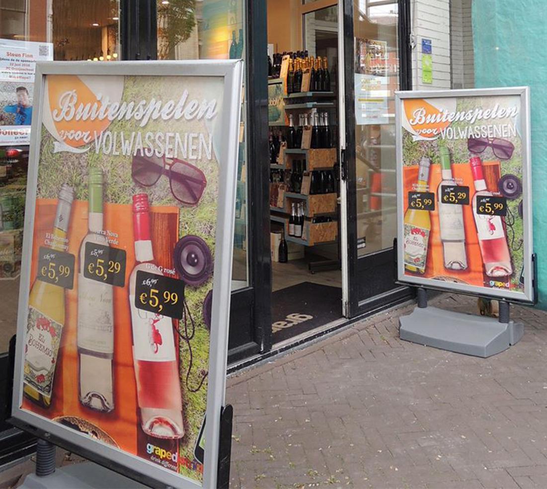 Winkelactie Grapedistrict Buitenreclame