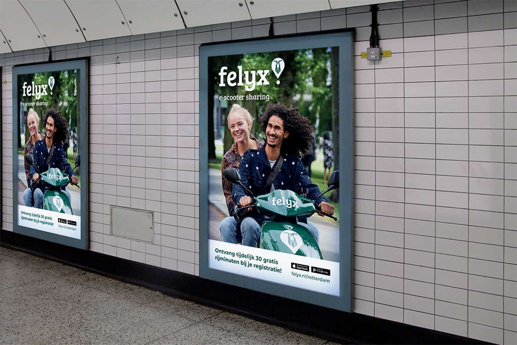 Abriposter felyx Rotterdam e-scooter sharing